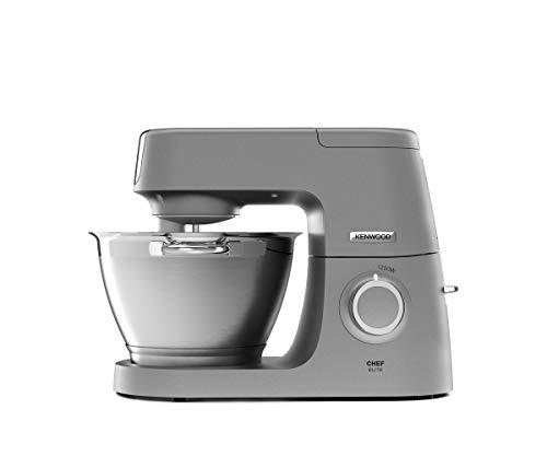 Kenwood Chef Elite KVC5320S Küchenmaschine, 4,6 l Edelstahl Rührschüssel, Interlock-Sicherheitssystem, Metallgehäuse, 1200 Watt, inkl. 3-Teiligem Patisserie-Set und Glas-Mixaufsatz, silber
