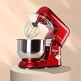 Klarstein Preis/LEISTUNGSSIEGER Bella Rossa - Küchenmaschine, Rührmaschine, Knetmaschine, 1200 Watt, 1,6 PS, 5,2 Liter, planetarisches Rührsystem, 6-stufige Geschwindigkeit, Edelstahlschüssel, rot