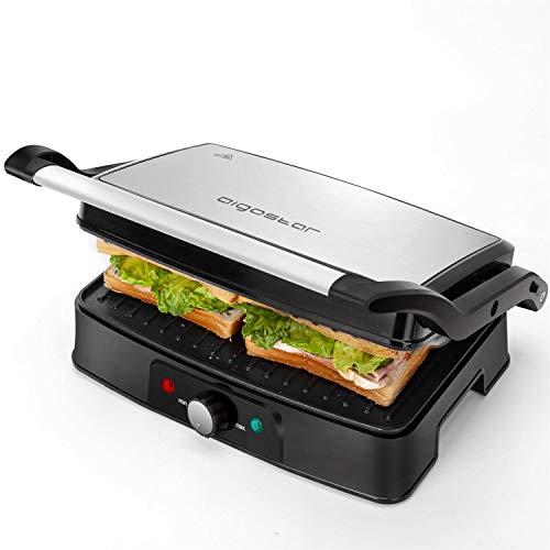 Aigostar Hitte 30HFA - Elektrische Tischgrills/Kontaktgrill/Panini Maker, Sandwich maker, Elektrogrill, 1500 Watt, Cool Touch, Antihaft, Lichtanzeige, Silber. EINWEGVERPACKUNG.
