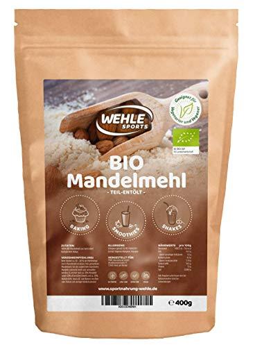 Bio Mandelmehl entölt 400g in Premium Qualität - Almond Flour Meal I Gemahlene Mandeln Mandel Mehl low carb I Glutenfrei I Vegan I Aus nachhaltigem und fairen Anbau