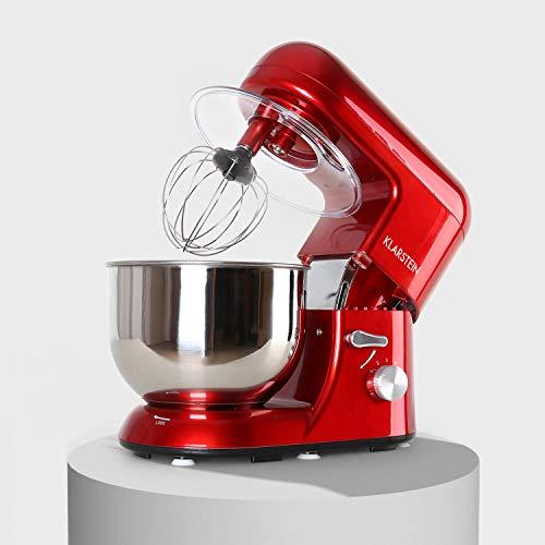 Klarstein Bella Rossa - Küchenmaschine, Rührmaschine, 5,2 Liter-Rührschüssel, Knetmaschine mit 1300 Watt, 6-stufige Geschwindigkeit, Edelstahlschüssel, rot