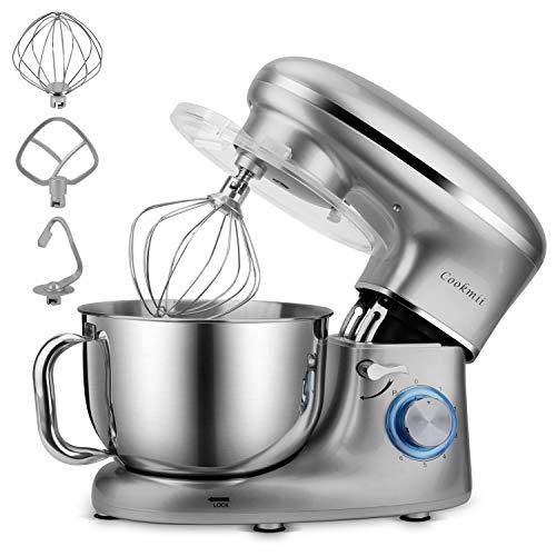 Cookmii Küchenmaschine 1500W Hohe Energie Knetmaschine 5.5 Liter-Rührschüssel, 6-stufige Geschwindigkeit Teigmaschine (Silber)