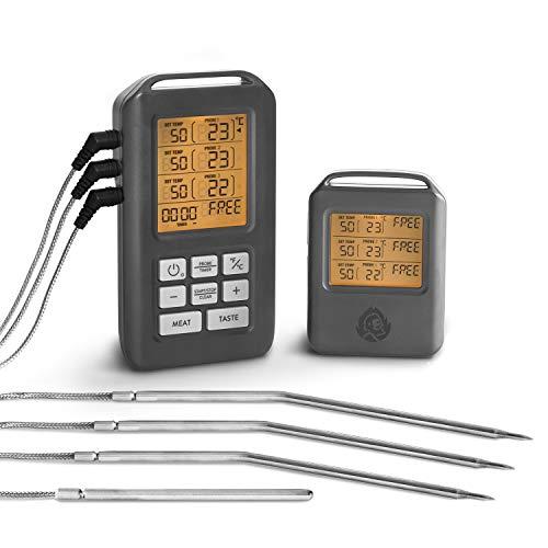 Burnhard Funk Grillthermometer, Digital Braten-Thermometer für Grill & Backofen, 4 Temperaturfühler, Timer, BBQ Thermometer, Grillzubehör für Fleisch & Fisch + Gratis Rezept (PDF)