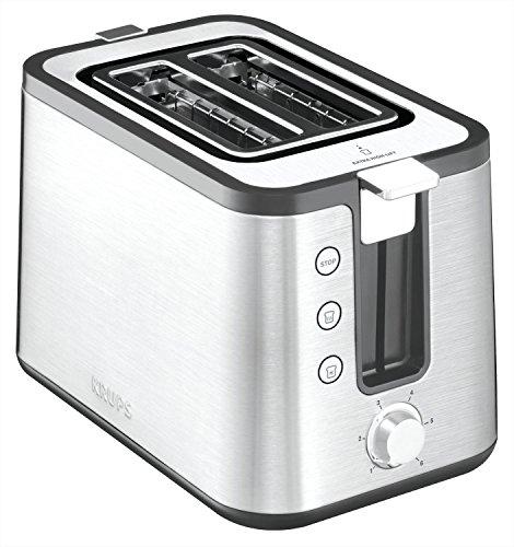 Krups KH442D Control Line Premium Toaster | Edelstahl | 2 kurze Schlitze für 2 Scheiben | Brötchenaufsatz | 6 Bräunungsgrade | 850 W | Silber/ Schwarz