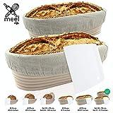 Gärkorb 2er Set + Teigschaber, 2 Gärkörbe für Brot und Brotteig - Peddigrohr (oval, 28 und 35 cm) mit Leineneinsatz, rostfrei geklammert