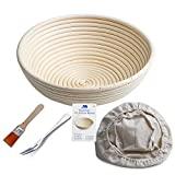 Gärkörbchen rund, ø 25 cm, Höhe 8.5 cm Banneton Proof Korb für Brot und Teig [inkl. Pinsel] Proof Rising Rattan Schale(1000g Teig) + Gratis Liner + Gratis Brot Gabel