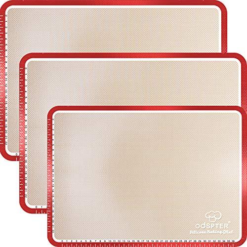 ODSPTER Backmatte Silikon, Macarons Backmatte mit Messungen, BPA frei Rutschfester wiederverwendbarer Hitzebeständig Antihaftbeschichtet [3 Stück]