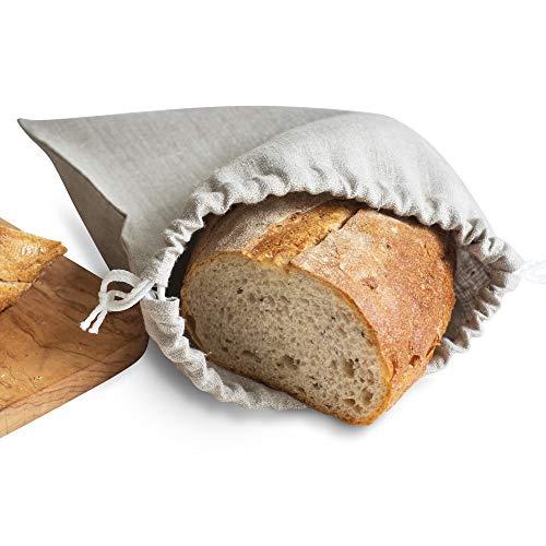 Brotbeutel aus Natur Leinen - Brot Tasche - Leinenbeutel - Beutel Stoff Leinen - Natur (25 x 30 cm)