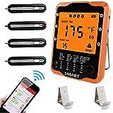 Rilitor Bratenthermometer Digital Grillthermometer mit 4 Sonden Wireless Ofenthermometer Küchenwecker Fleischthermometer für BBQ, Garraum, Smoker, Steak, Unterstützt IOS, Android