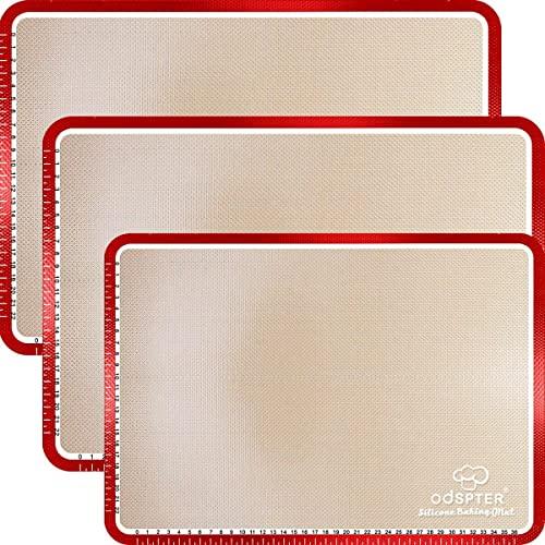 Backmatte Silikon, Silikonmatte Backen mit Messungen, BPA frei Rutschfester wiederverwendbarer Hitzebeständig Antihaftbeschichtet Für Backofen Mikrowelle Backform Liner up to 250℃ (30x42 cm) [3 Stück]