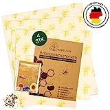 NATURFREUND Bienenwachstücher 4er Set – LFGB zertifiziert - Für Lebensmittel - Inkl. Gratis Saatmischung zur Bienenrettung - 100 Prozent Natürliche Alternative zu Frischhaltefolie - ZeroWaste