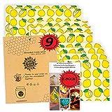 Annwise Bienenwachstuch, 9-Set, Wiederverwendbare,100% abbaubare Bienenwachstücher für Lebensmittel aus Bienenwachs und Baumwollstoff. Die nachhaltige Alternative zu Plastiktüten.